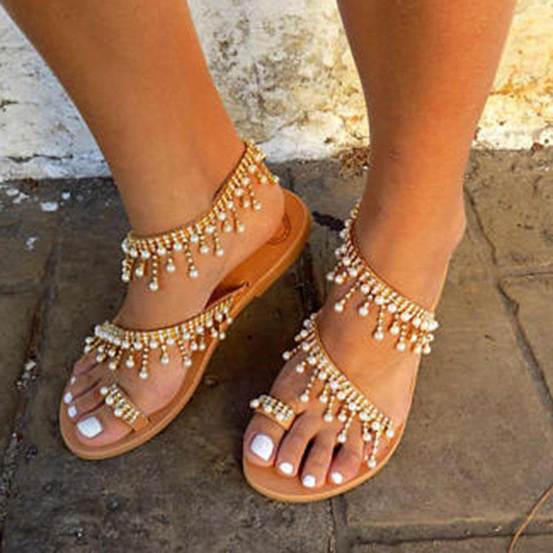 b3a0cbd387a145 Women Leather Sandals Casual Pearls Shoes - StyleWe.com