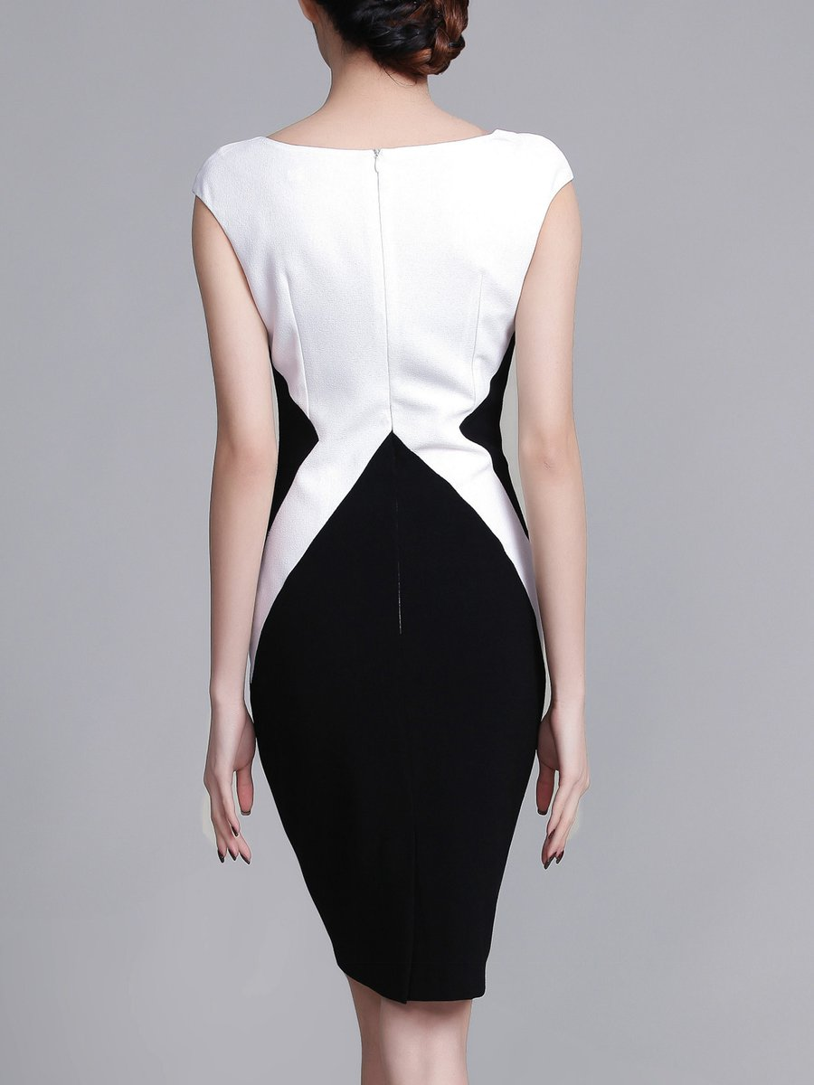 032c97b8078e Stylewe Square neck Black-white Midi Dress Bodycon Dress Short ...