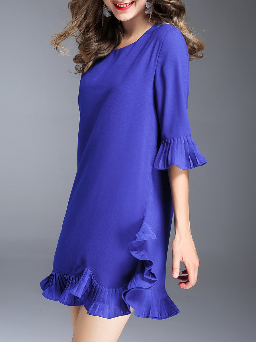 Stylewe And Just Fashion Now: Stylewe Mini Dress Flounce Dress Frill Sleeve Casual