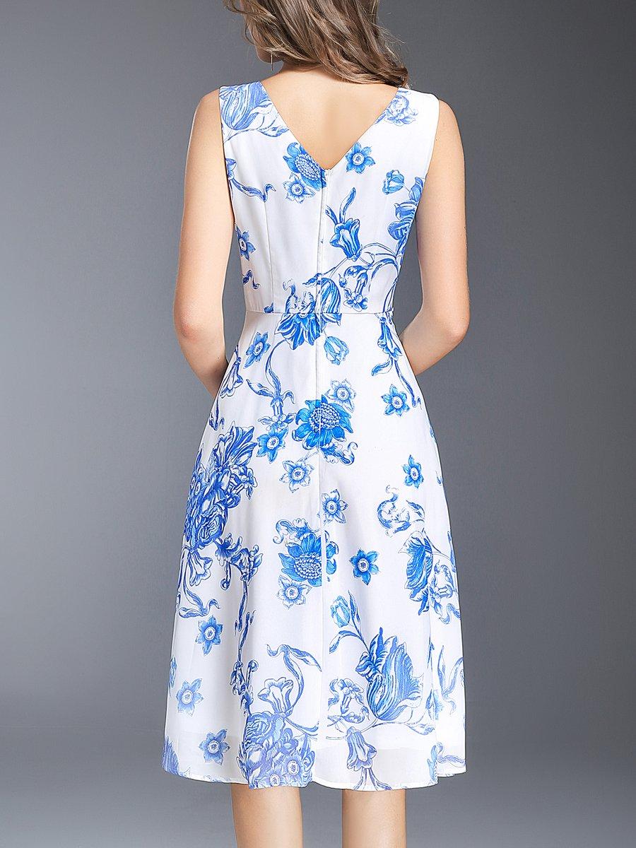 33a91b0f39 Stylewe Midi Dress A-line Daytime Dress Sleeveless Casual Chiffon ...