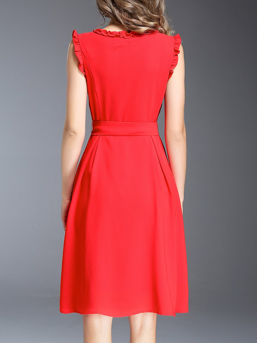 Stylewe And Just Fashion Now: Stylewe Red Midi Dress A-line Dress Sleeveless Elegant Bow