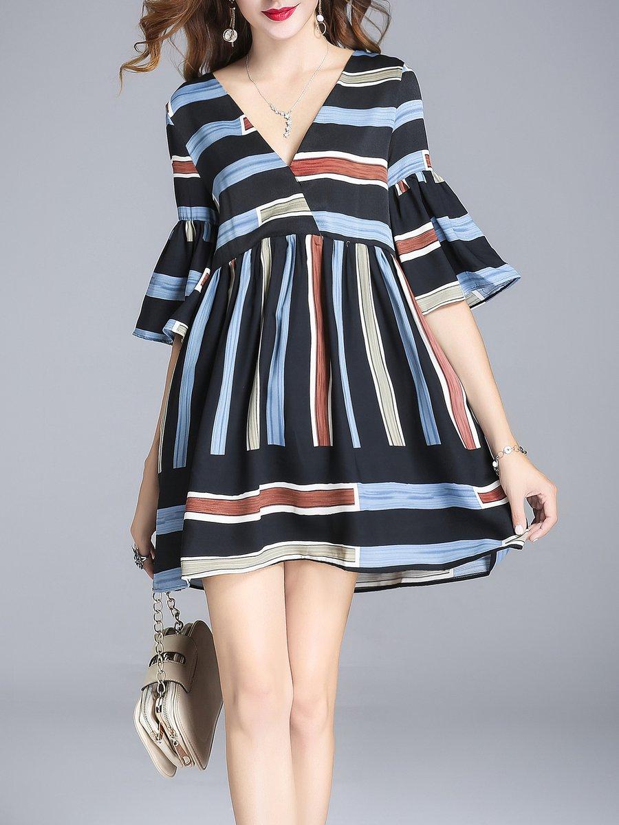 Stylewe Multicolor Mini Dress Shift Daytime Dress Bell