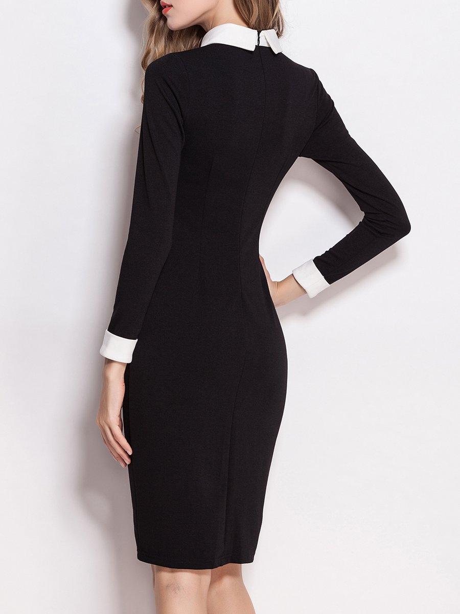 Stylewe plus size shirt collar black midi dress work dress for Midi shirt dress black