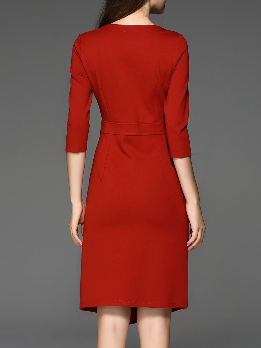 ee1e88d19fe Stylewe Plus Size V neck Red Midi Dress Sheath Work Dress 3 4 Sleeve ...