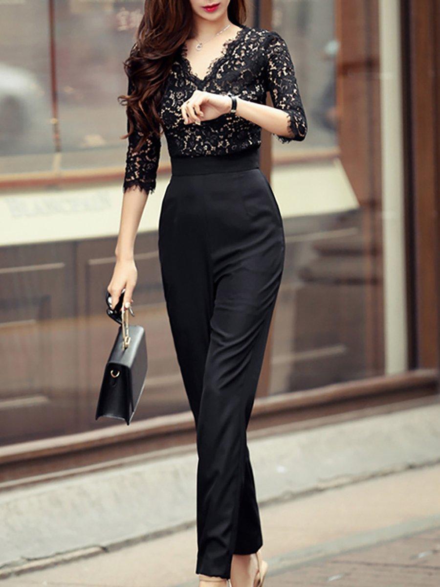Black Casual 3/4 Sleeve Pockets V-Neck Jumpsuit - StyleWe.com