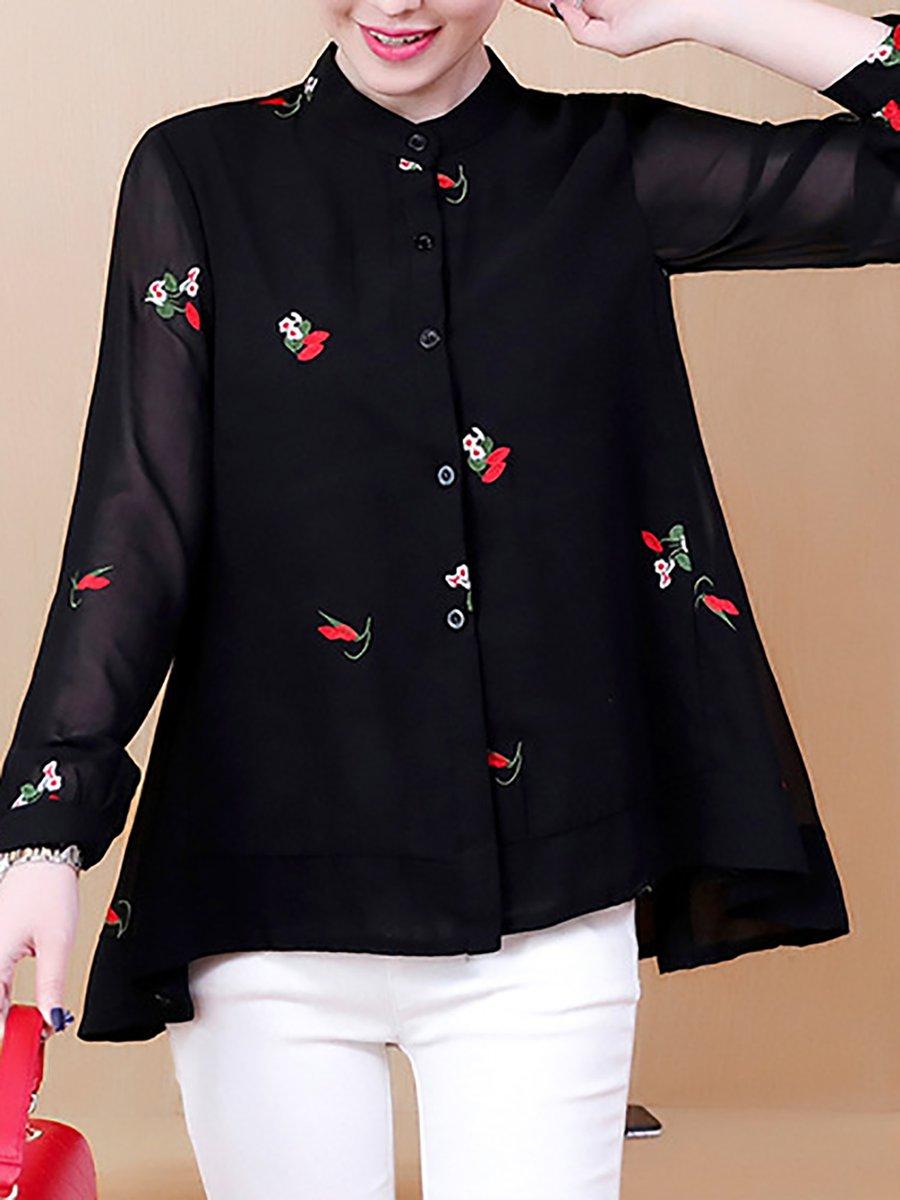 053b4609f0409c Stylewe High Low Navy Blue Black Black-Red Women Blouses Polyester ...