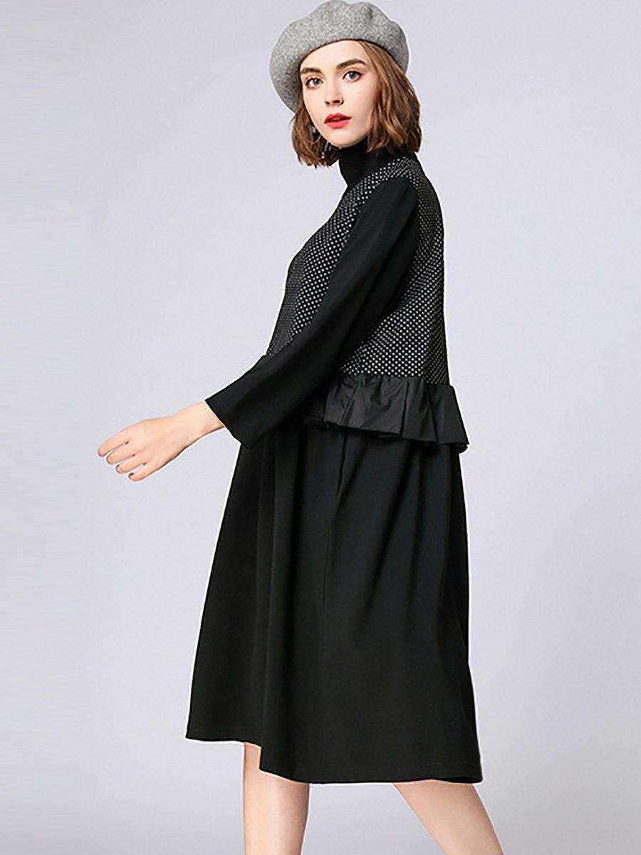 88e123b69f89 Stylewe Casual Dresses Long Sleeve Ruffled Dresses Daily Shift ...