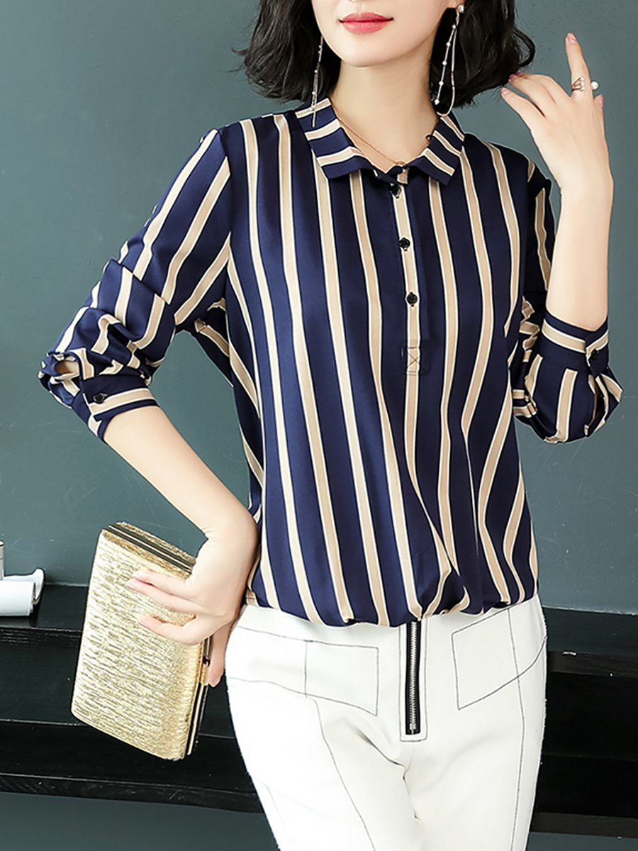 Stylewe Striped Navy Blue Apricot Women Blouses For Work Shirt