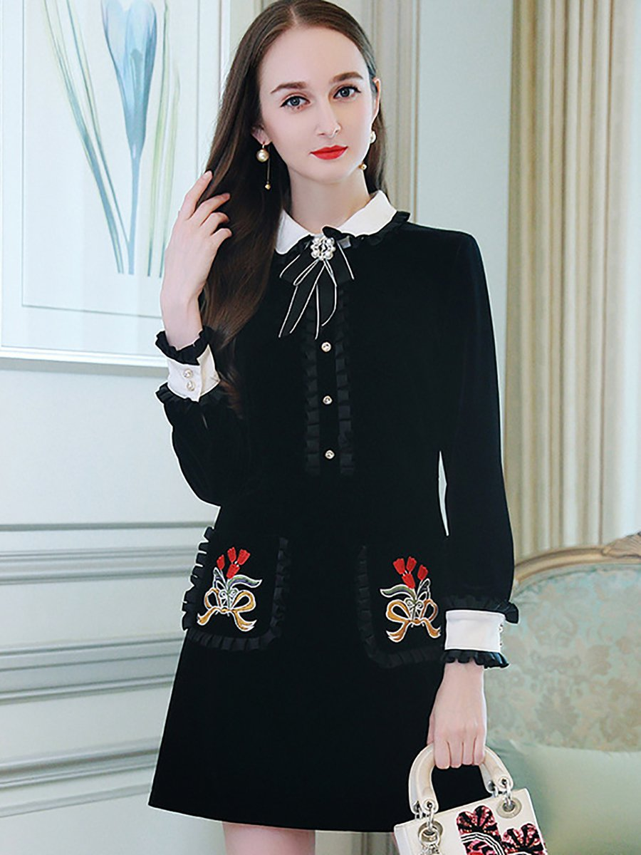 Stylewe Casual Dresses Long Sleeve Ruffled Dresses Daily Shift Peter