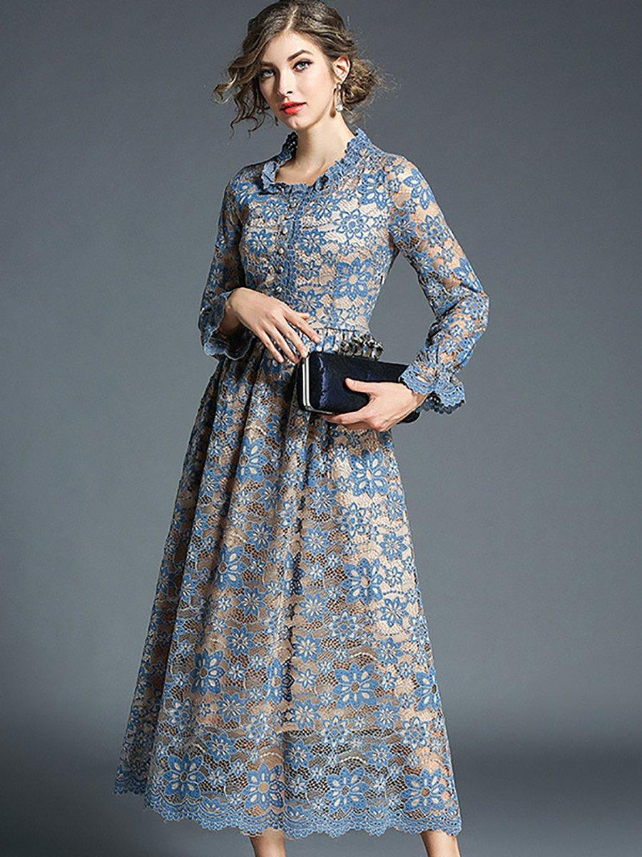 Blue Ruffled Dresses