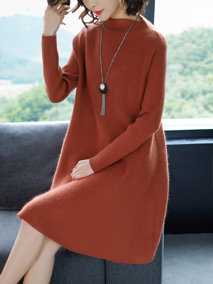 184f32c61bb9 Casual Long Sleeve Knitted Acrylic Sweater Dresses - StyleWe.com
