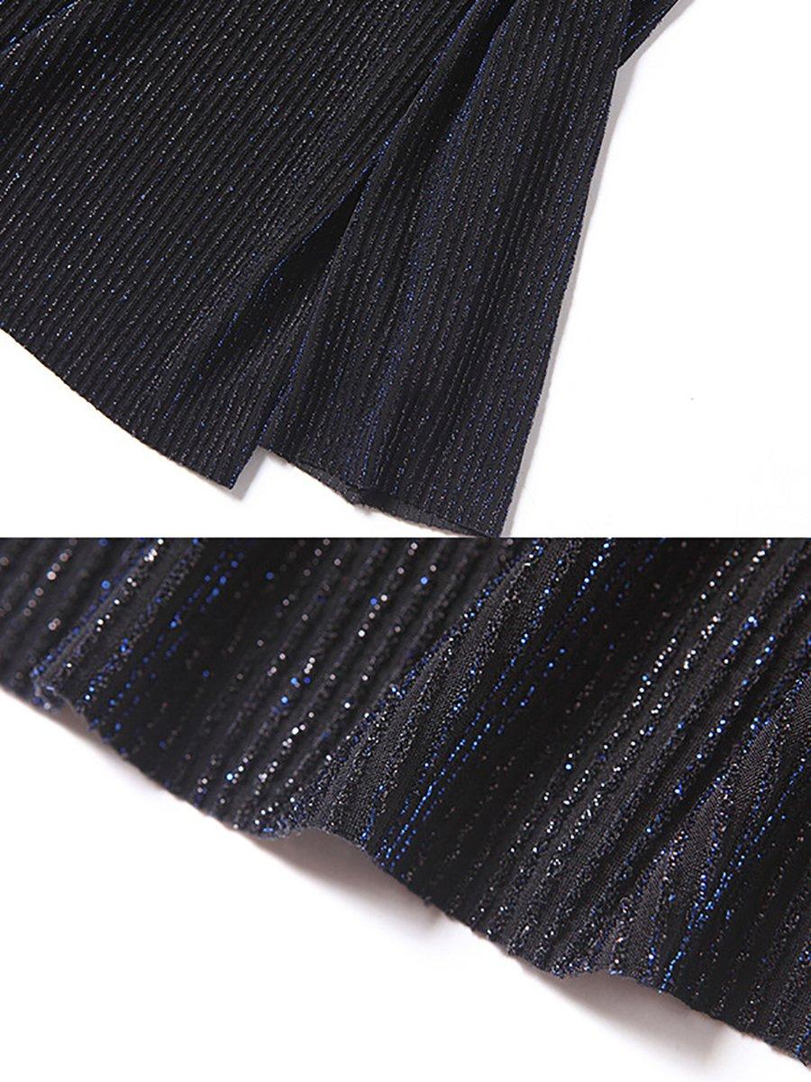 e8b4b853a8c73 Turtle Neck Shimmer Shift Long Sleeve Tops