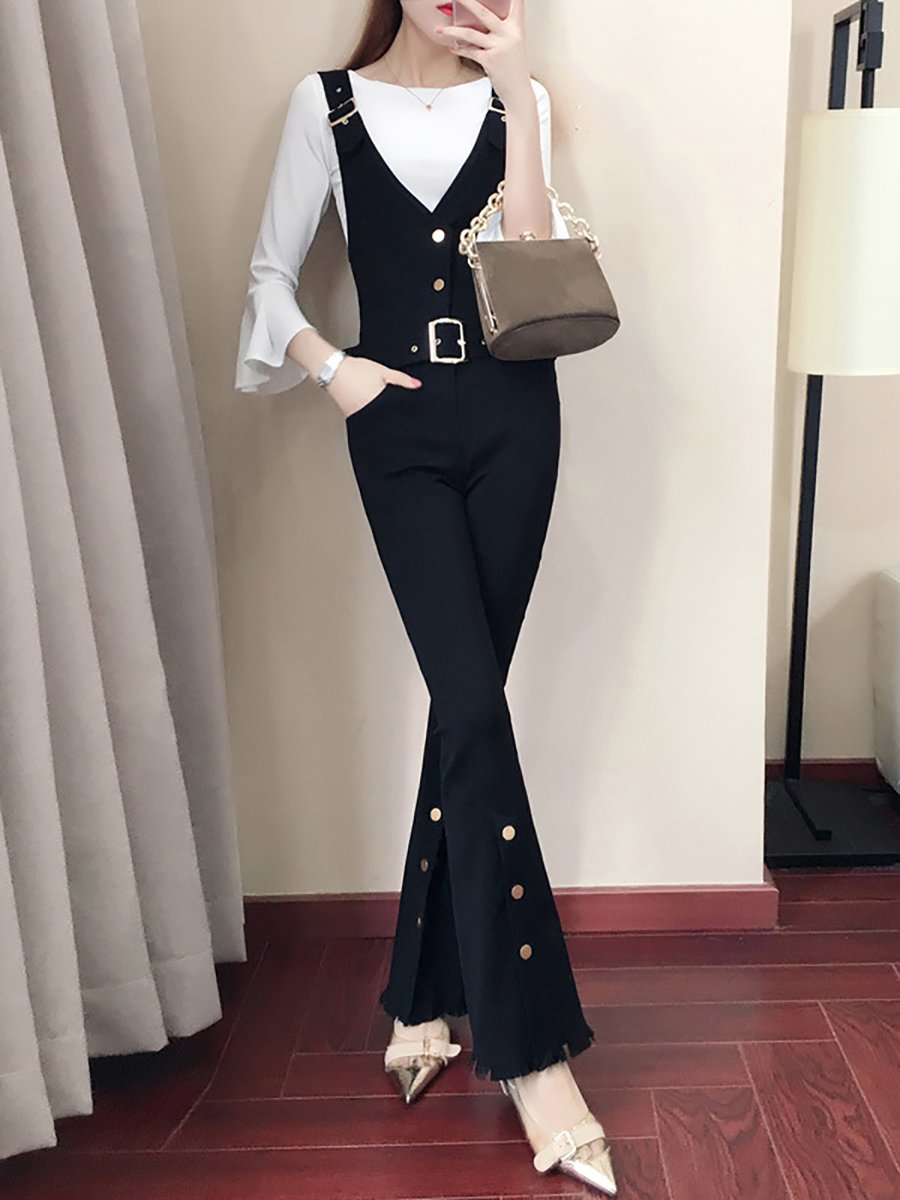 bd57473adc36 Stylewe Solid Jumpsuits For Work Casual Spaghetti Black Jumpsuits