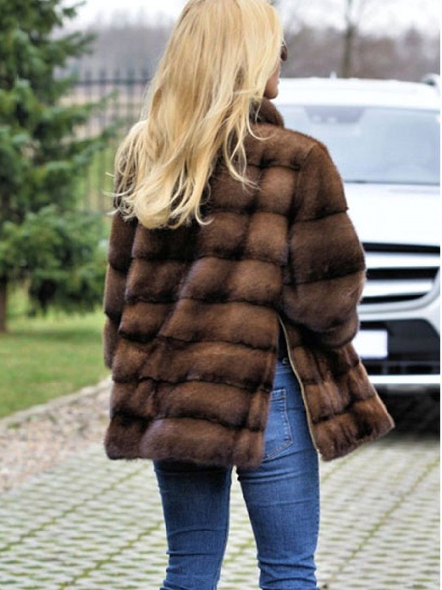 Brown Stand Collar Slit Fur And Shearling Coats