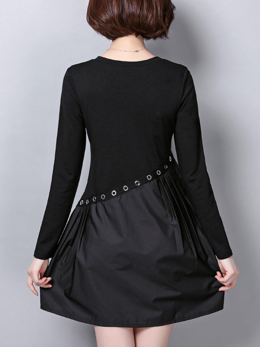 A-Line Date Paneled Black Mini Dress