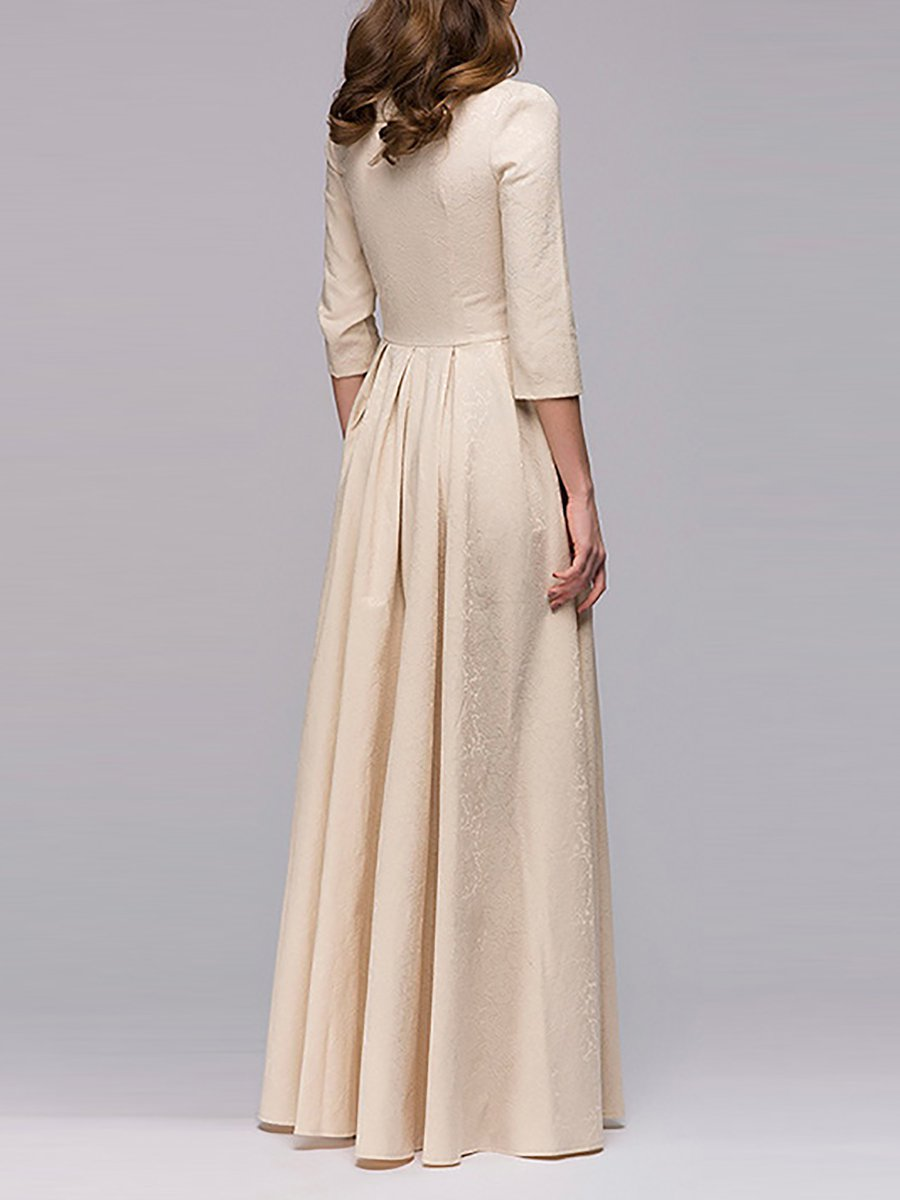 Christmas Square-Cut Collar Prom Evening Maxi Dress