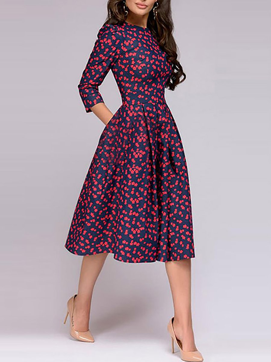18c9da91a3 Stylewe Party Dresses Floral Dresses Date A-Line Crew Neck Printed ...