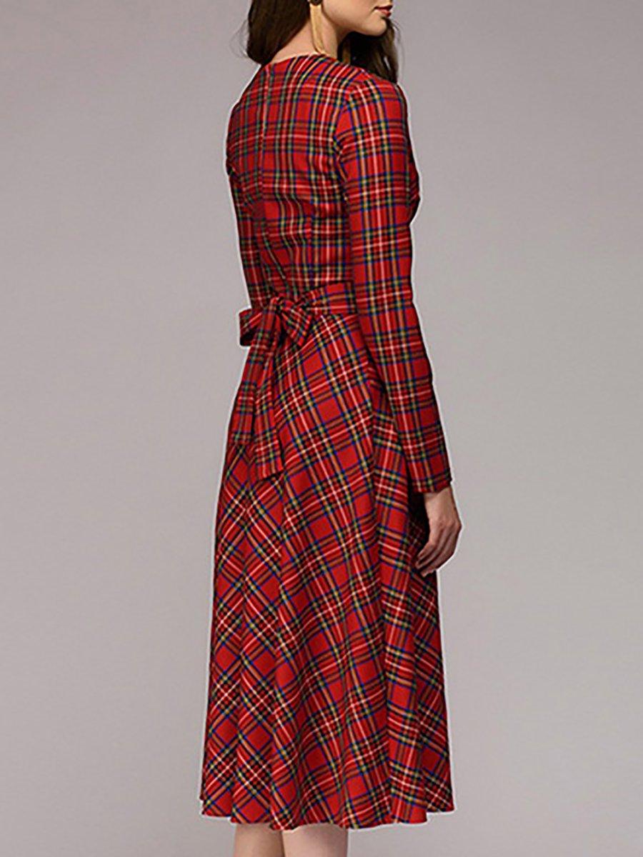 A-Line Vintage Red Plaid Party Midi Dress