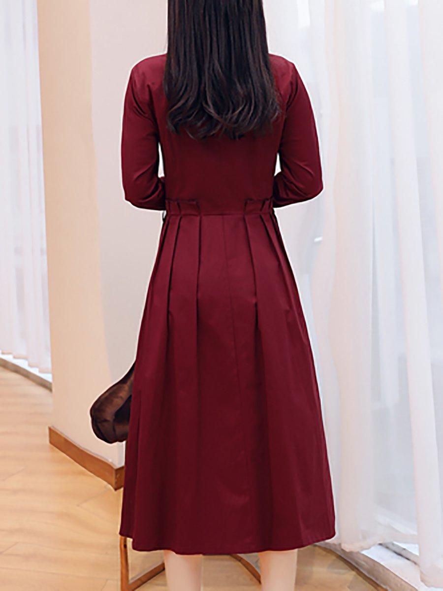 Shirt Collar A-Line Daily Pleated Midi Dress