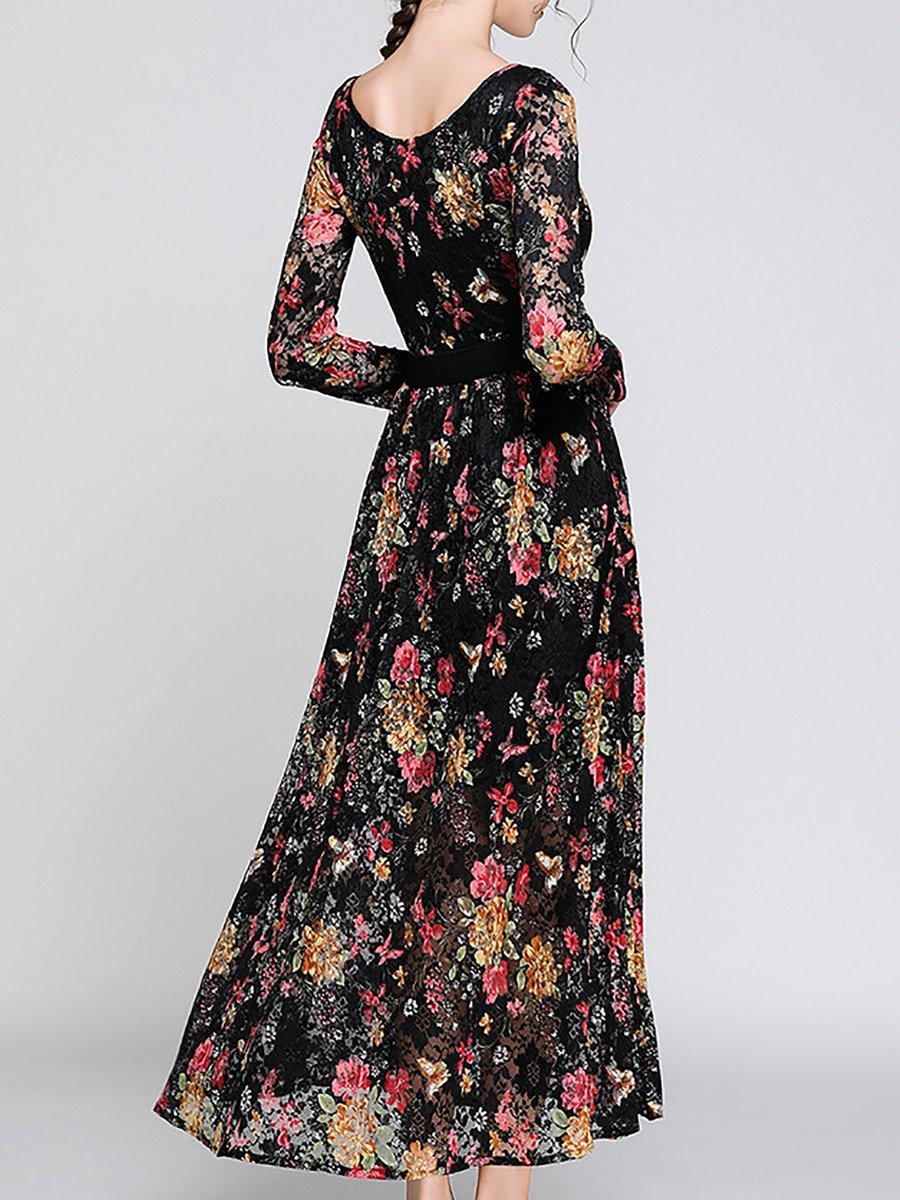 A Line Lace Floral Print Midi Dress
