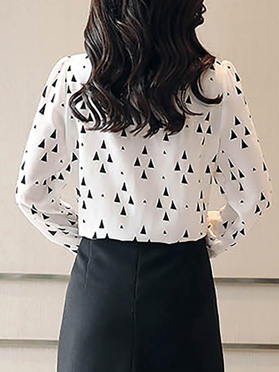 6b39b5381ca26e Stylewe Long Sleeve Black Black-White White Women Blouses For Work ...