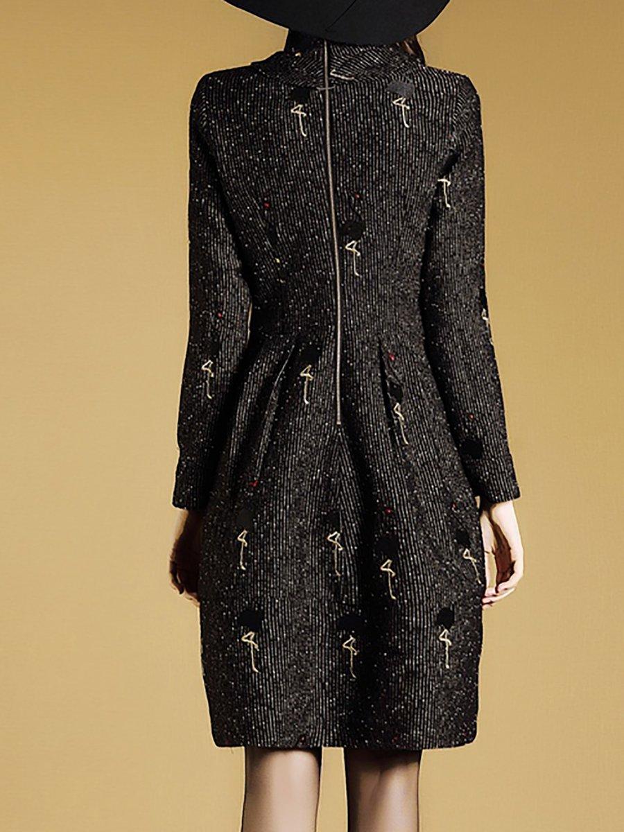 Turtleneck A-Line Gathered Black Mini Dress