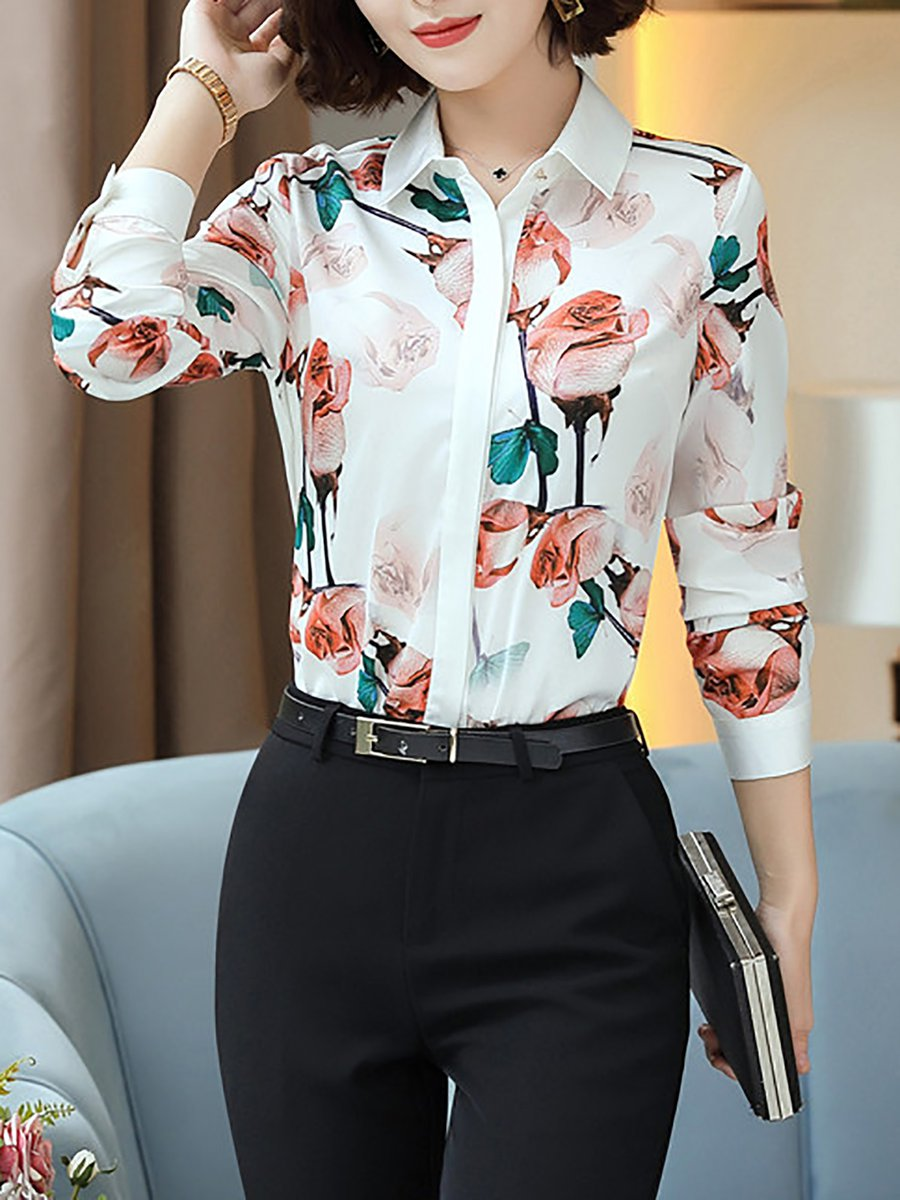 Stylewe Floral White Red White Gray Women Blouses For Work Chiffon
