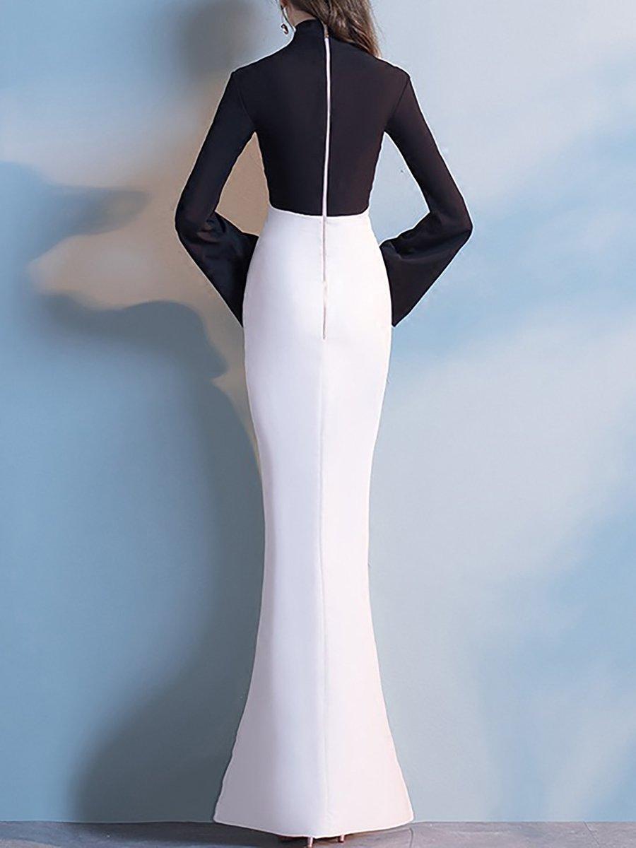 4bb5f7ed698 Black Long Sleeve Mermaid Maxi Dress - Data Dynamic AG