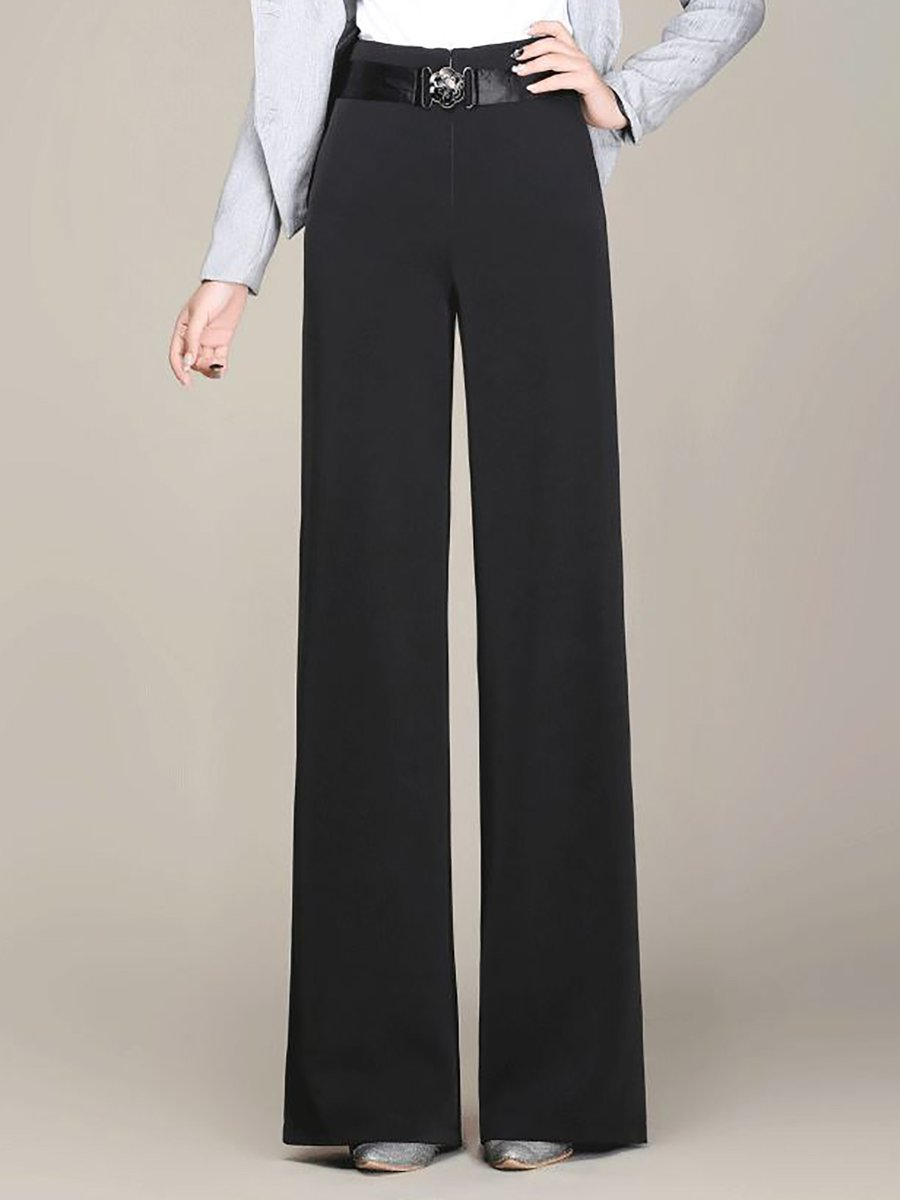 Stylewe Solid Women Straight Leg Pants For Work Casual