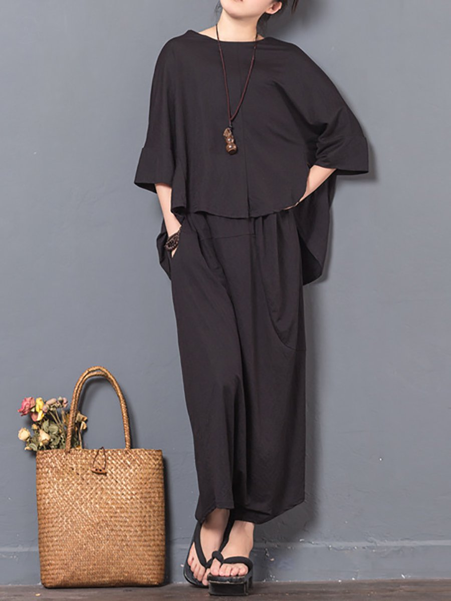 dc18368938b0 Black 3 4 Sleeve Simple Solid Cotton Linen Jumpsuits - StyleWe.com
