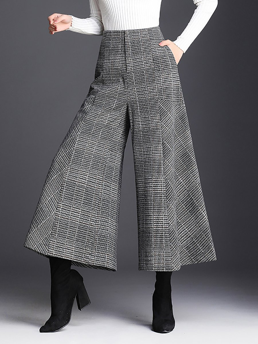 48e8f68b0f Stylewe Women Wide Leg Pants For Work Casual Grey Zipper Polyester ...