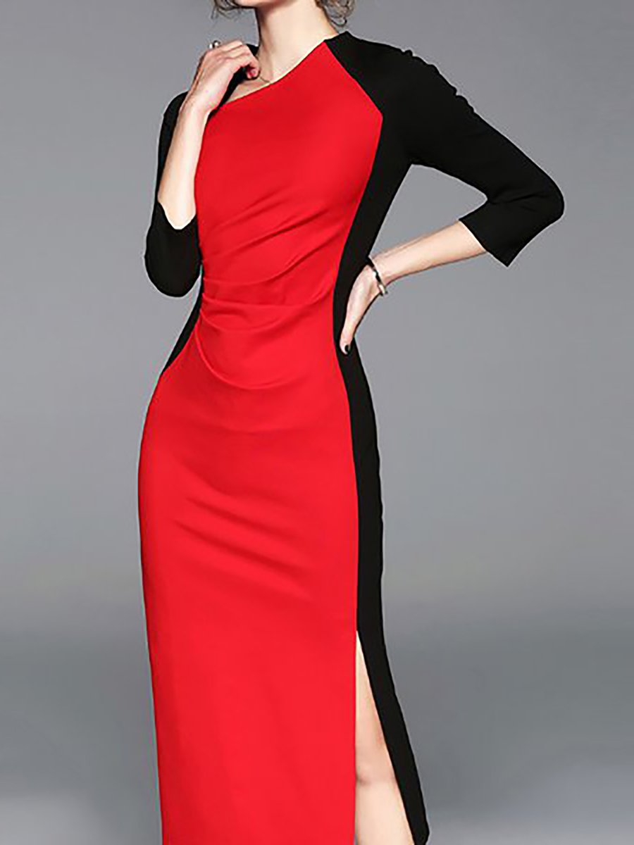 b913ab84c8 Red-Black Solid Knitted 3 4 Sleeve Sweater Dresses - StyleWe.com