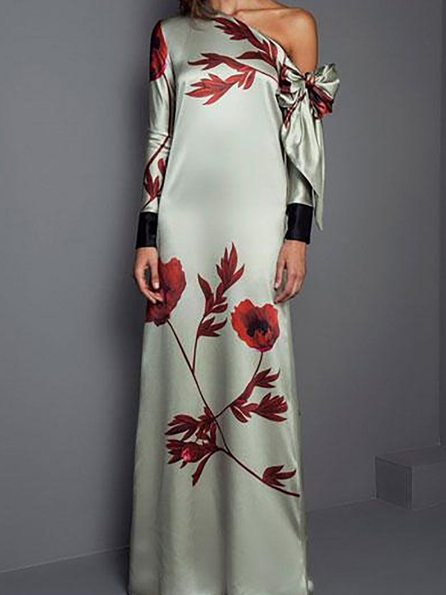 c535b66983bb Chic Womens Long Sleeve Floral Printed Round Neck Maxi Dress