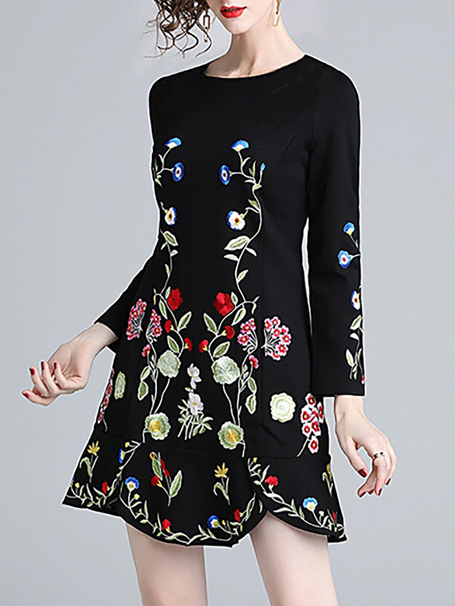 Stylewe Casual Dresses Long Sleeve Floral Dresses Daily A Line Crew
