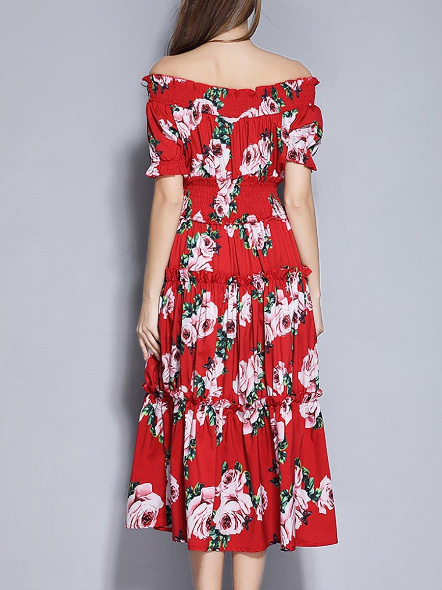 432a02ea31aa Stylewe Summer Dresses Floral Dresses Holiday A-Line Off Shoulder ...