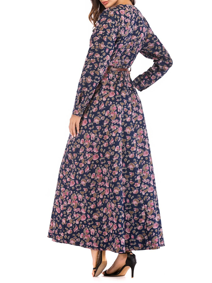 dc179acf239 Stylewe Casual Dresses Long Sleeve Floral Dresses Casual A-Line V ...