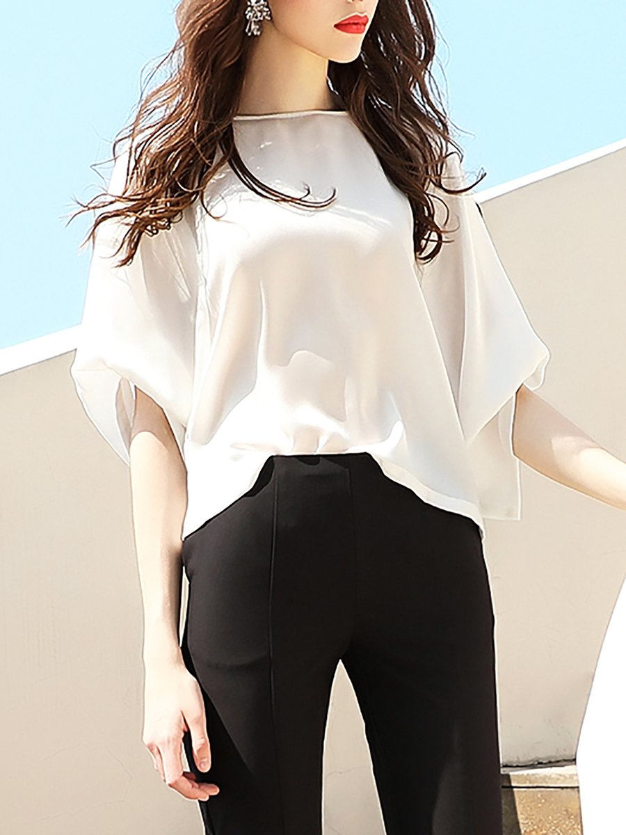 Stylewe White Women T Shirts Polyester Casual Bateauboat Neck