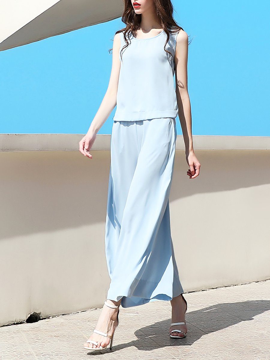 124d980d83bd Stylewe Chiffon Jumpsuits Casual Sleeveless Light Blue Jumpsuits