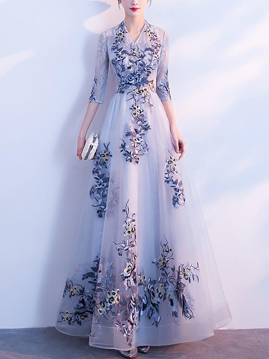 ebe7c231b4 Stylewe Formal Dresses Floral Dresses Wedding A-Line V Neck Half ...