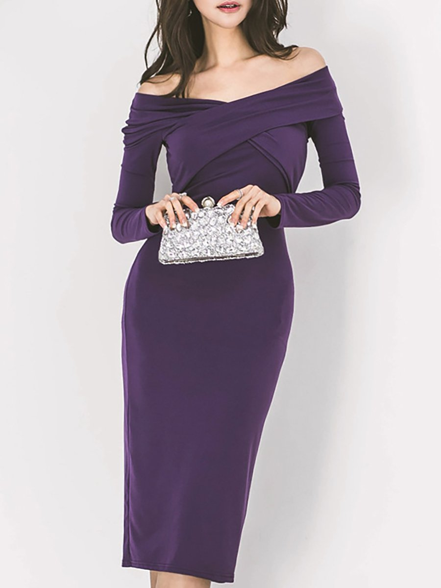 365b30de1553 Stylewe Party Dresses Long Sleeve Formal Dresses Date Sheath Off Shoulder  Sexy Zipper Dresses