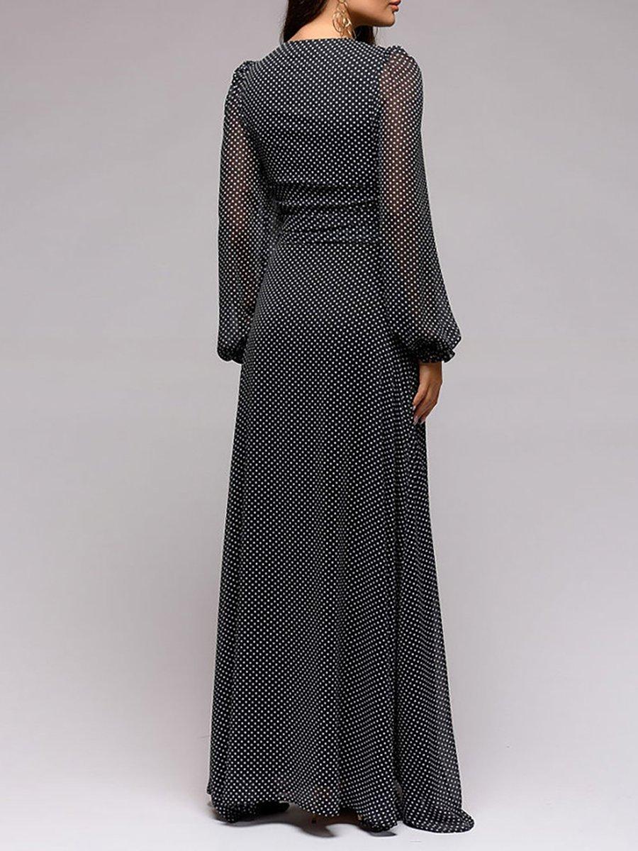 12e5ab85a9 Stylewe Summer Dresses Long Sleeve Chiffon Dresses Date A-Line V ...