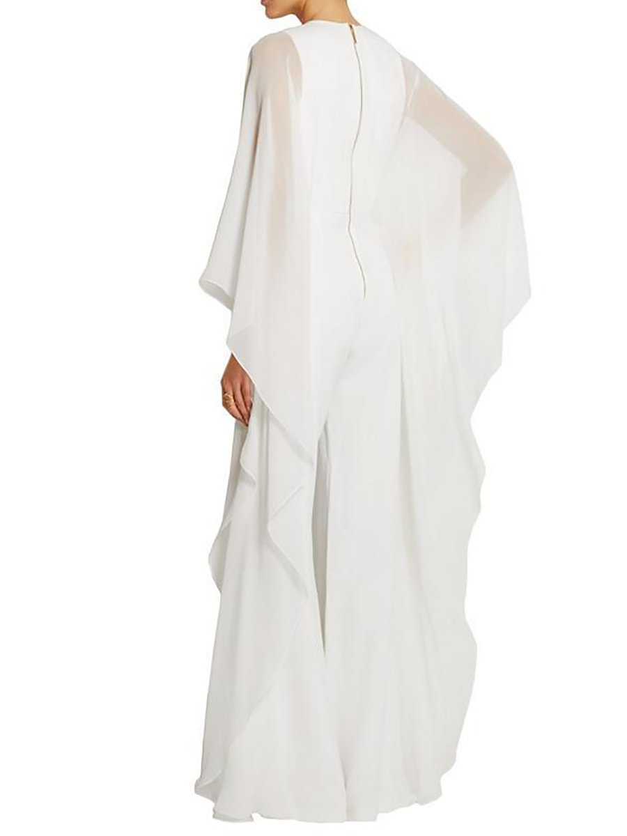 c8e12d96d3ff Crew Neck Paneled Holiday Cape Sleeve Jumpsuits - StyleWe.com