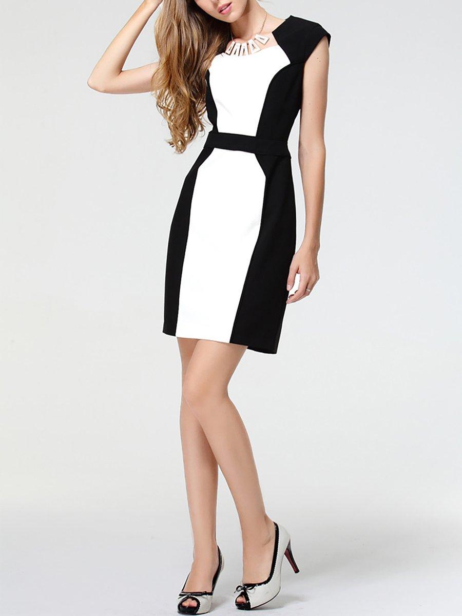 3fa6fb53 Stylewe Summer Dresses Sundress Work Sheath Crew Neck Color-Block ...