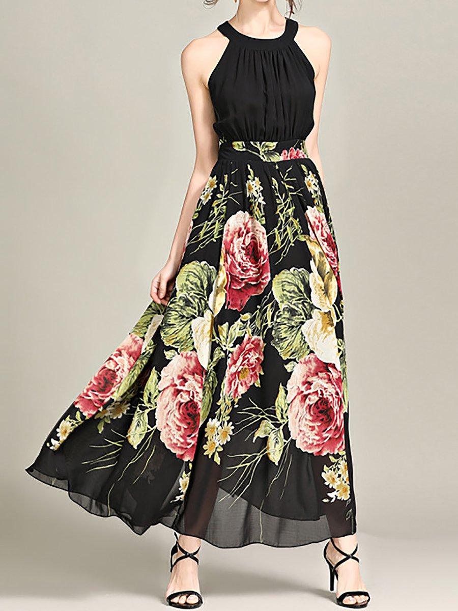 Stylewe Floral Dresses Chiffon Dresses Holiday A-Line Halter Printed Sleeveless Elegant Dresses
