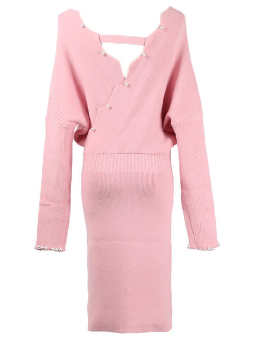 1c157a866209 Stylewe Casual Dresses Long Sleeve Daily Sheath V Neck Sweet Beaded ...