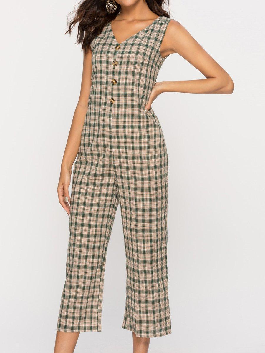 d718b7908d90 Khaki V Neck Sleeveless Checkered plaid Color-Block Jumpsuit