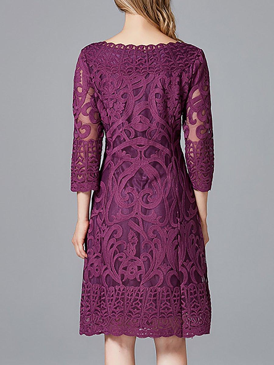Purple 3/4 Sleeve Dress