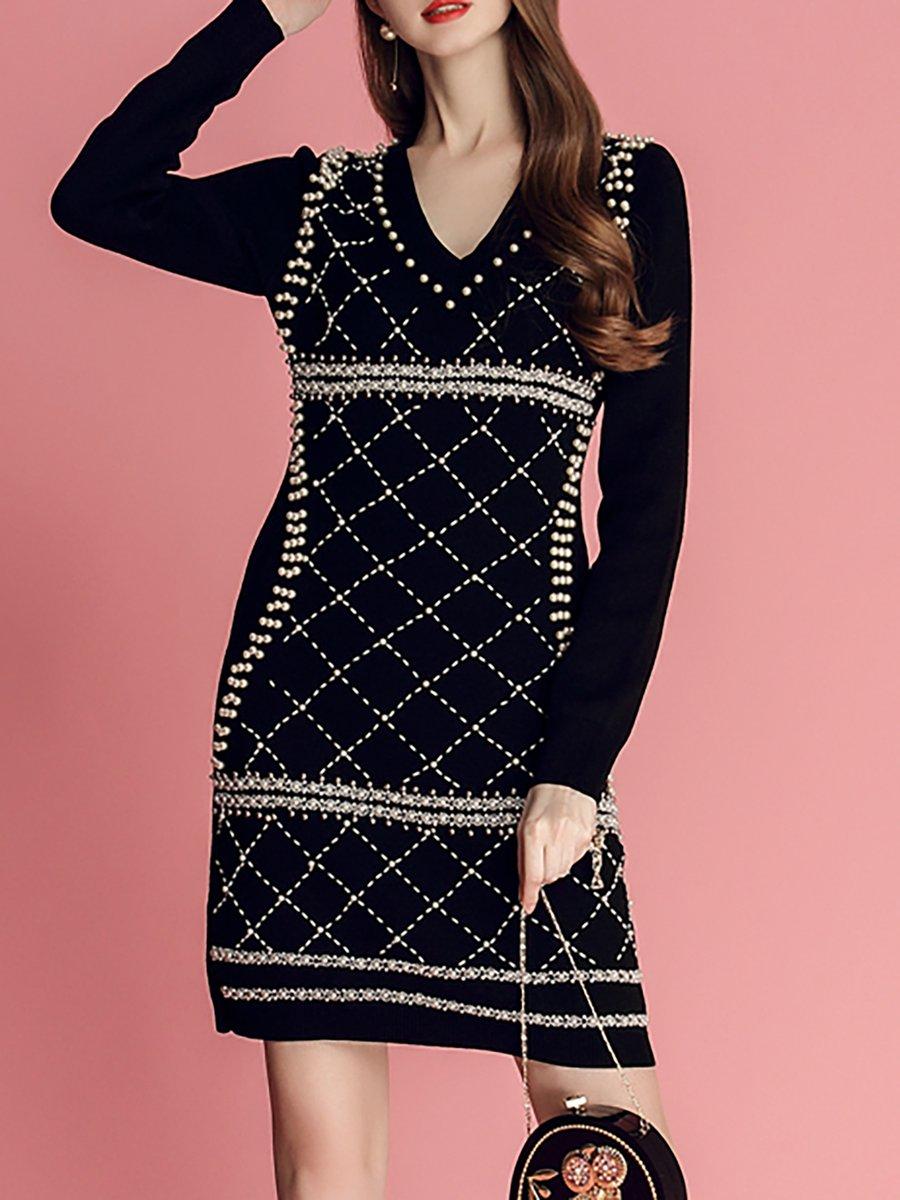 8a76eb46401a Stylewe Casual Dresses Long Sleeve Daytime Sheath V Neck Beaded ...