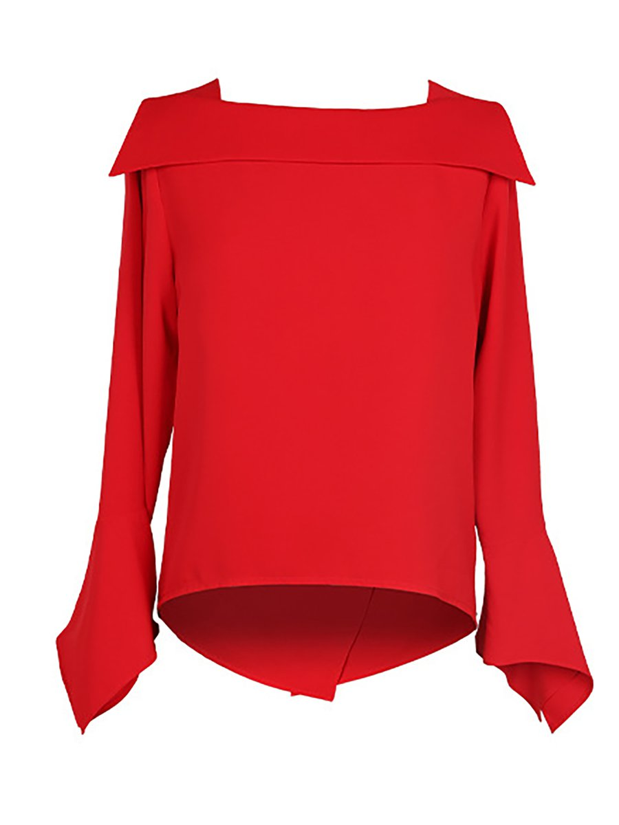 Stylewe Red White Blue Women Blouses For Work Square Neck