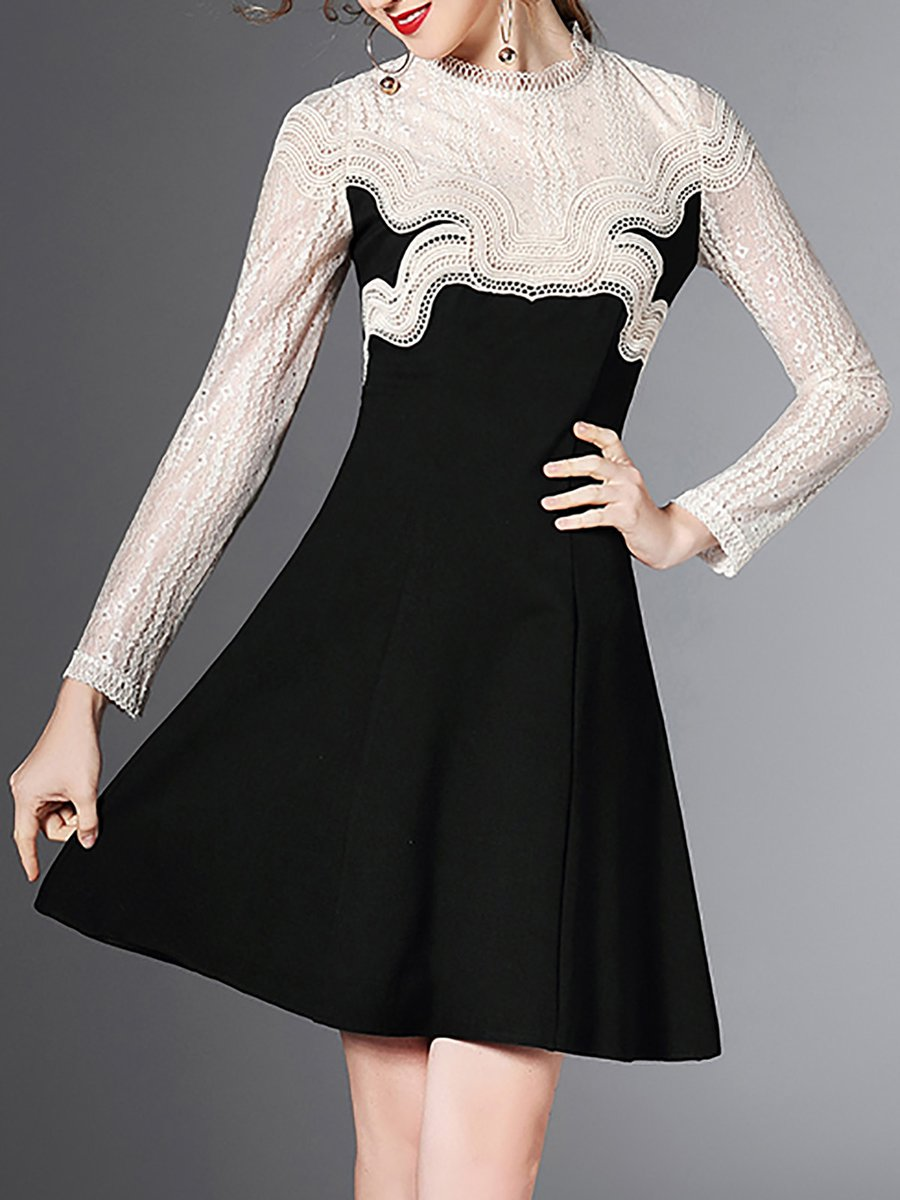 db15bc511c99 Stylewe Party Dresses Long Sleeve Sundress Party A-Line Crew Neck Elegant Guipure  Lace Dresses